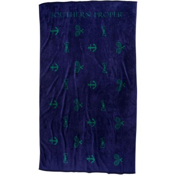 Critter Beach Towel: Navy